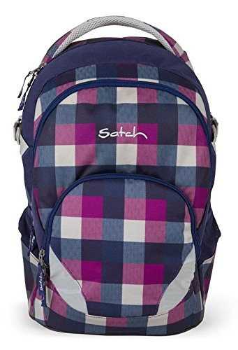 Satch by Ergobag Schulrucksack Air Berry Carry 966 karo lila blau