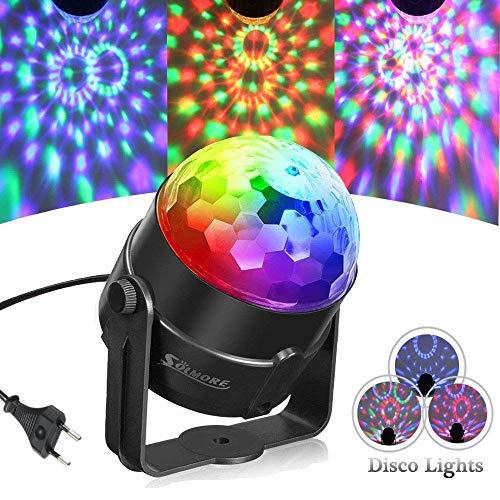 SOLMORE Discokugel Lichteffekte Partylicht RGB Dj Lampe 5W Magic Ball Bühnenlicht Discolichteffekte Projektor Licht für Kinder Geburtstag Halloween