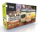 Gadgy ® Solarglas Einmachglas   Set 3 Stück mit 5 LED's   Warmweiß Licht   Solar Lampe für Außen   Garten Laterne - 9