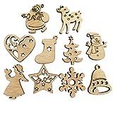 Doubleer 50 Pezzi Nuova Decorazione di Natale in Legno Eco-frinedly Retro Cartoon Xmas Tree Ornaments