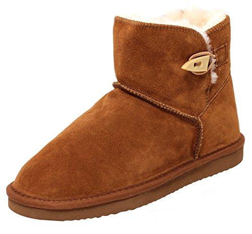 ZAPATO EUROPE Echtes Lammfell und Leder Damen Winter Stiefel Boots Fellstiefel Kurzstiefel Braun Cognac Gr. 40 Warm GEFÜTTERT