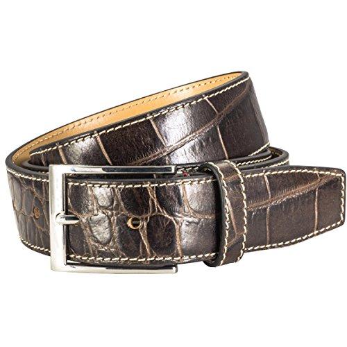 Pierre Cardin - Cinturón de cuero para hombre / cinturón para hombre pierre cardin, piel de vaca con cocodrilo realzando, brown, 75000, tamaño / tamaño: 110; color / color: marrón
