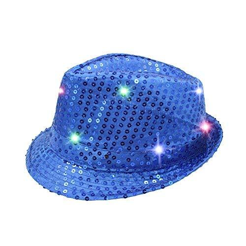 Namsan Fedora-Partyhut mit 9 blinkenden und farbenfrohen LEDs, mit Pailletten besetzt, blau