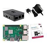 Raspberry Pi 3Model B + Original Offizielle Starter Kit schwarz black mit Netzteil Ladegerät Original, Case Original, Kabel HDMI, Kühlkörper und offizielle microSD 16GB mit NOOBS