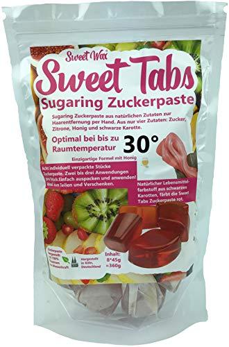 Sweet Tabs 30° Rot Brazilian Wax. Einfach auspacken, kneten und anwenden. Enthaarungswachs aus Sugaring Zuckerpaste zur Haarentfernung per Hand. Keine Vliesstreifen oder Erwärmen nötig. 8 * 45g =360g