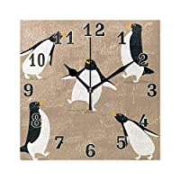 funnyy Cute Animal Penguin Vintage Square Acrylic Wall Clock, Silent Non Ticking Art Painting Clock for kids Girls Children Bedroom Living Room School Home Decor