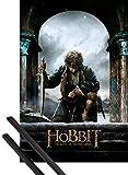 1art1 Poster + Hanger: Der Hobbit Poster (91x61 cm) Die Schlacht Der Fünf Heere Bilbo Beutlin Inklusive EIN Paar Posterleisten, Schwarz