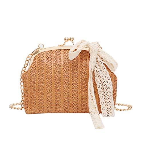 KIMODO Damen Stroh Bogen Handtasche Frauen Elegante Strand Umhängetasche Leinwand Quadrat Kuriertasche Schultertasche (Braun) -