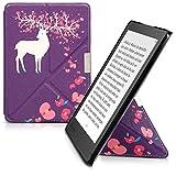 Cover per Kobo Aura Edition 2 con supporto - kwmobile custodia magnetica ultra sottile slim in simil pelle Design cervo fiori bianco rosa viola immagine