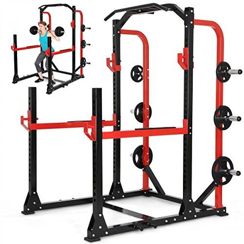 Physionics Multifunktionales Fitnessgerät Power Rack Kraftstation Kniebeugenständer Fitnessstation Trainingsstation Cage 165x150x210cm
