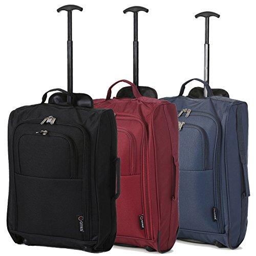 Lot de 3 Super léger de voyage bagages Cabine Valise Wheely Sacs Sac à Roulettes (Noir/du vin/Marine)