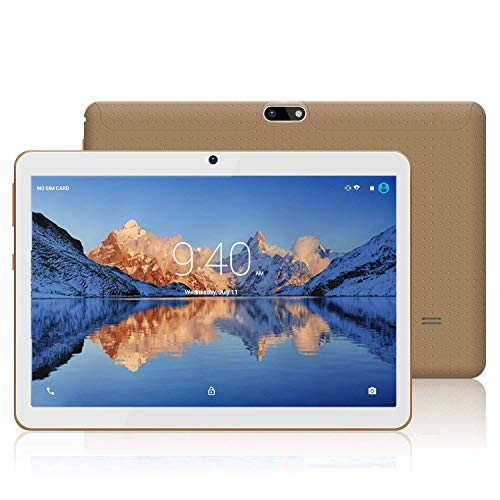 Tablets 10.1 Pulgadas Android 9.0 YOTOPT, Quad Core, 4GB de RAM, 48 GB de Memoria Interna, 3G Tablet, Dual SIM, WiFi/ Bluetooth/GPS/OTG - Oro