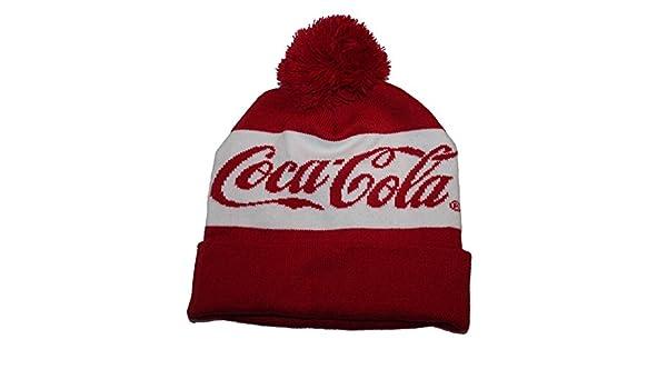 4677416172c Coca Cola Unisex Knit Hat Cap Pom Pom Top Red White One Size  Amazon.co.uk   Clothing