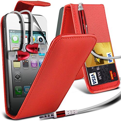 ( Baby Blue ) Apple iphone 4 Premium Stylish Protective Faux Skin Case flip carte de crédit / débit Slot couverture en cuir & Protecteur d'écran LCD Garde by Spyrox ( Rouge ) pour écouteurs