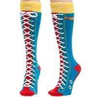 Wonder Woman Faux Lace Up Knee High Costume Socks