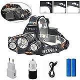 Boruit LED Kopflampe USB Stirnlampe Superhell Wasserdicht XML-3*T6 LED 6000LM Wiederaufladbar 4 Helligkeits-Modi USB mit EU-Stecker