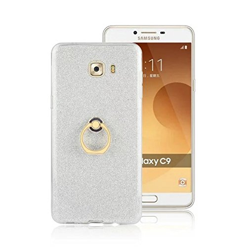 Luxus Bling Sparkle Style Case, Soft TPU [Silikon] Flexible Glitter Back Cover mit Fingerring Stand [Anti Scratch] [Shockproof] für Samsung Galaxy C9 ( Color : White ) White