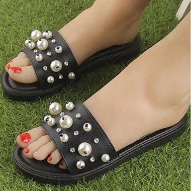 zhENfu donna sandali di gomma Slingback Estate Casual tacco piatto bianco nero 1A-1 3/4in Black