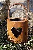 LD Edelrost Windlicht Herz mit Henkel Tischdekoration Garten Terrasse