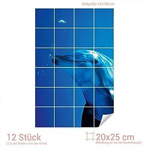 Graz Design 761093_20x25_70 Fliesenaufkleber Fliesenbild Delfin   Wand-Deko für Bad/Küchen-Fliesen (Fliesenmaß: 20x25cm (BxH)//Bild: 70x105cm (BxH))