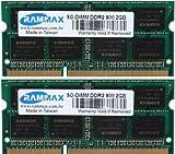 RAMMAX 4GB (2x2GB) SO-DIMM Notebook Arbeitsspeicher Dual Channel Kit DDR2 800MHz PC2-6300 PC2-6400 CL5 200-Polig (Rechnung mit ausgewiesener MwSt)