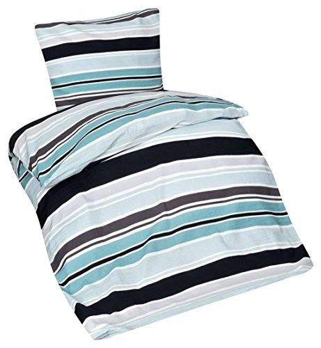 Aminata – Bettwäsche 135x200 cm petrol grün schwarz mit Streifen | Bettbezug á 135x200 cm | Seersucker + Reißverschluss | Ganzjahr Bezug in Normalgröße