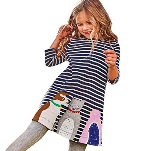 Longra Baby Kinder Mädchen Herbst Kleidung mit Tiere Print Stickerei Prinzessin Party Kleid Mädchen Baumwolle Langarm Streifen T-shirt Kleid (130CM 5Jahre, ()