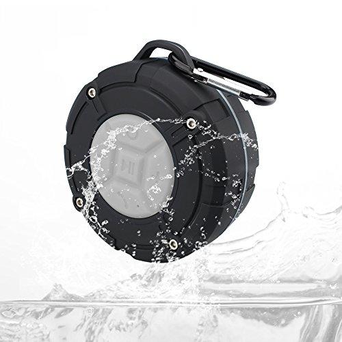 Mini Portable Bluetooth Lautsprecher, Tragbarer Waterproof Wireless Speaker Wasserdicht Kompatibel mit Alle Bluetooth Geräte (Mit Saugnapf, Karabiner, Eingebautes Mikrofon)