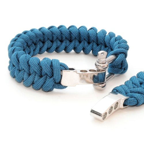 'Set of 2Bracelet Braided) Compact Universal Survival Rope Made of tear-resistant Parachute Cord/Paracord 550Cord (Xmas Core Rope Nylon) and Cast Adjustable Metal Screw Clasp, Length 23cm, Colour:: Blue Note: This Paracord Rope is not suitable for Climbing-Ganzoo by Ganzoo