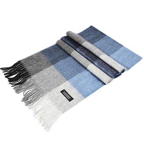 Saferin Donne Uomini Cachemire & lana d'agnello Plaid Molle Caldo Sciarpa (Blu e Grigio Plaid)