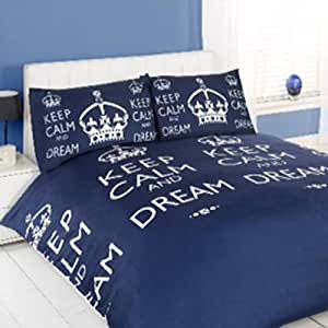 parure housse de couette keep calm and dream bleu marine lit 200 x 200 cm. Black Bedroom Furniture Sets. Home Design Ideas