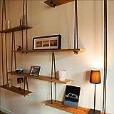 Book Jia Bücherregale Massivholz-Wandregal mit Hanf-Seil-Regalen Wand-Hängen für Wohnzimmer als Bücherregal-Lagerregal-Wand-Dekorations-Entwurfs-Weinlese-Art (Größe : 240*20*160cm)