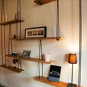 biblioth ques tag re murale en bois massif avec des. Black Bedroom Furniture Sets. Home Design Ideas
