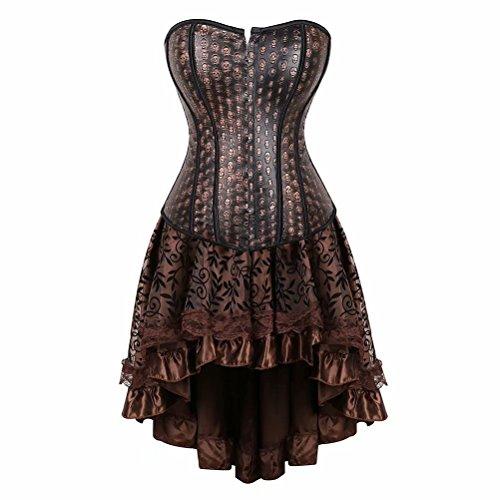 Korsett Kleid Steampunk für Frauen Spitze Gothic Punk Bustier Rock Set Kostüm Masquerade Übergröße - - X-Large(Für die Taille 30-31