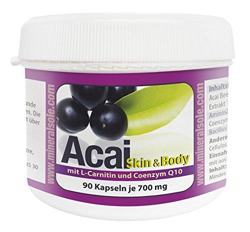 Acai Skin & Body | 90 Kapseln je 700mg I Acai Extrakt 10:1 I L-Carnitin I Coenzym Q10 I Bacillus Subtilis DSM 21097
