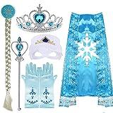 VAMEI Mädchen Prinzessin ELSA kostüm Dress up Tiara Zopf Zauberstab Maske Blaue Handschuhe 7 Set Mädchen Party Cosplay Zubehör Blau