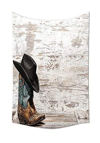 Western Decor Kollektion Traditionelle Rodeo Cowboy Hat und Cowgirl Stiefel in einer Retro Grunge Hintergrund Art Foto Schlafzimmer Wohnzimmer Wohnheim Wand Gobelin Braun Schwarz, mehrfarbig, 59W By 80L Inch (Cowgirl Rose Stiefel)