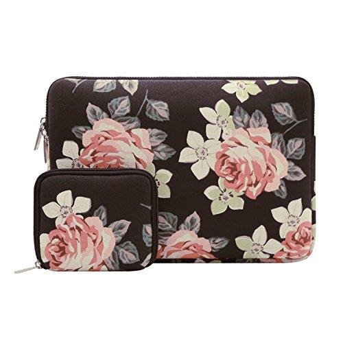 MOSISO Sleeve Hülle für 13-13,3 Zoll Laptop Canvas Gewebe Rosenmuster Laptophülle Schutzhülle, Schwarz