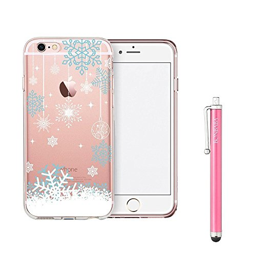 Coque iPhone 6 6s Housse étui-Case Transparent Liquid Crystal Mandala en TPU Silicone Clair,Protection Ultra Mince Premium,Coque Prime pour iPhone 6 6s-Pingouin et Ballon les flocons de neige