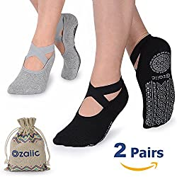 Ozaiic Calcetines Pilates Yoga Antideslizantes, Utilizar para Barre, Yoga, Pilates, Fitness Antideslizantes Calcetines (Negro Gris, M(Mujer35-41)