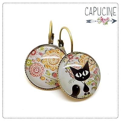 Boucles d'oreilles chat et fleurs avec cabochon verre - Boucles d'oreilles dormeuses chaton et fleurs - L'Oiseau des Chats