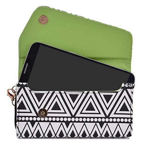 Kroo d'embrayage avec dragonne Portefeuille 16cm Smartphones et phablettes pour lecteur PRS-T3 Multicolore - jaune Multicolore - Noir/blanc