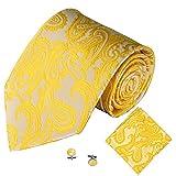 Dorical Herren 3PCS Klassisch Jacquard Männer Party Krawatte Tasche Quadrat Taschentuch Manschette Verknüpfung Accessories/Perfekt für Valentinstag Festliches Smoking Hochzeit
