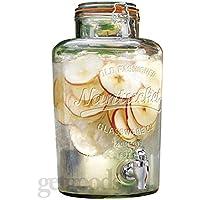 Get Goods GG0025.403 - Dispensador de cristal para bebidas con grifo de clip y plata inoxidable 8L