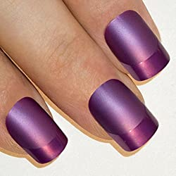Uñas Postizas Manicura Francesa Puntas Medianas Púrpura Mate Cobertura Total de Bling Art, RU