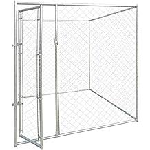vidaXL Perrera de Exterior Acero Galvanizado y Malla 2x2 m Jaula para Perros