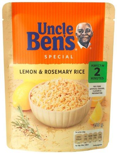 UNCLE BEN'S Riz Cuisiné Citron/Romarin Cuisson Express 2 Min au Micro-Ondes Ou 3 Minutes à la Poêle sans Colorant/Ni Arôme/Ni Conservateur Artificiels 250 g