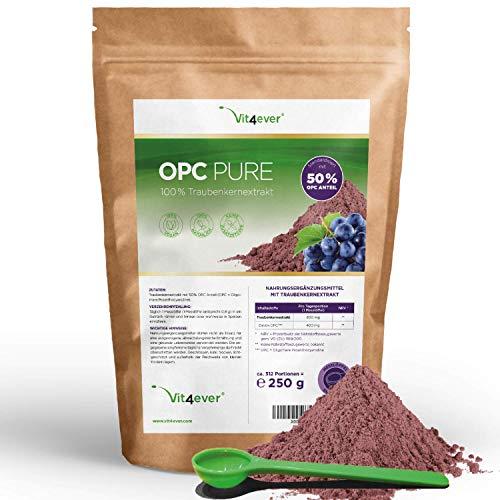 Vit4ever® OPC Traubenkernextrakt Pulver - 250 g - 312 Portionen mit 800 mg - Reines OPC aus französischen Weintrauben - 50% OPC Gehalt nach HPLC Methode (95% nach Bate-Smith) - Vegan