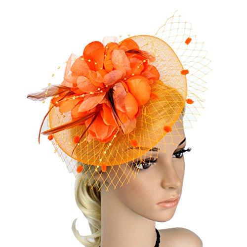 OULII Pince à Cheveux Plume Fascinator Femmes Mariée Broche Fleur Corsage Pour Mariage (Orange)
