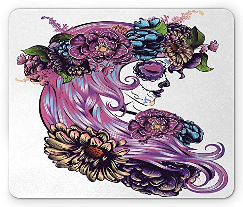 ASKSSD Gothic Mouse Pad, The Day of The Dead Illustration with Sugar Skull Girl in Festive Flower Wreath, Standard Size Rectangle Non-Slip Rubber Mousepad, Multicolor Gothic School Girl